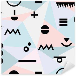 Pixerstick Sticker Abstracte minimale geometrische modern materiaal patroon als achtergrond en zwarte symbolen