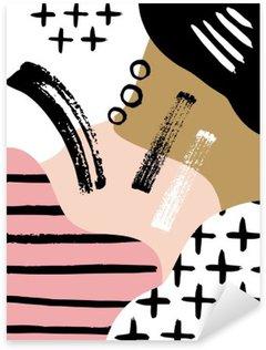 Pixerstick Sticker Abstracte Scandinavische compositie in zwart, wit en pastel roze.