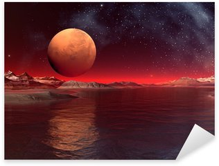 Alien Planet - Computer Artwork Sticker - Pixerstick