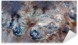 Pixerstick Sticker Allegorie onderwater bloemen, planten Stone fantasie, abstract naturalisme, abstracte fotografie woestijnen van Afrika uit de lucht, abstracte surrealisme, luchtspiegeling, fantasie vormen in de woestijn, planten, bloemen, bladeren,