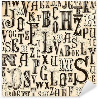 Sticker Pixerstick Alphabet fond Vintage