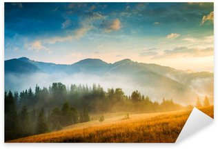 Sticker - Pixerstick Amazing mountain landscape with fog and a haystack