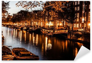 Pixerstick Sticker Amsterdam bij nacht, Nederland
