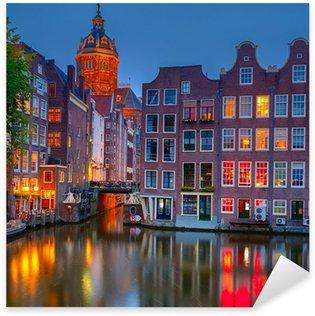 Pixerstick Sticker Amsterdam bij nacht