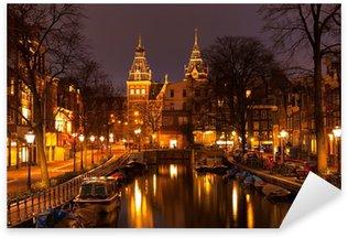 Pixerstick Sticker Amsterdam in de avond. Bekijk in het Rijksmuseum