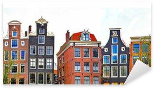 Sticker Pixerstick Amsterdam. maisons traditionnelles frontière