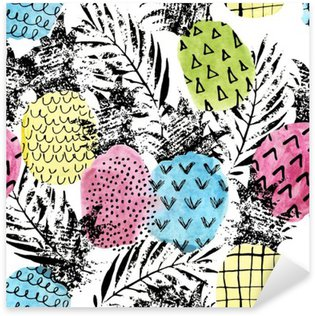 Sticker Pixerstick Ananas coloré avec aquarelle et grunge textures seamless pattern
