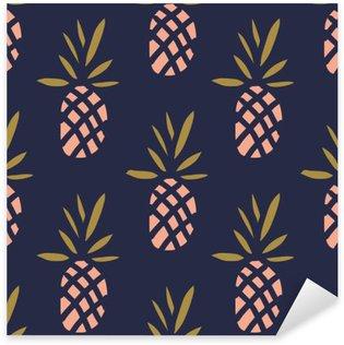 Sticker Pixerstick Ananas sur le fond sombre. Vector seamless pattern avec des fruits tropicaux.