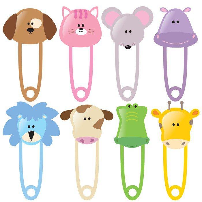 Sticker - Pixerstick Animal Baby Safety Pins Set 2 Isolated -