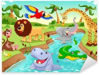 Sticker Pixerstick Animaux africains dans la jungle