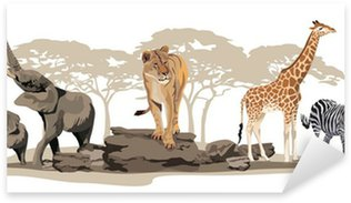 Sticker Pixerstick Animaux africains