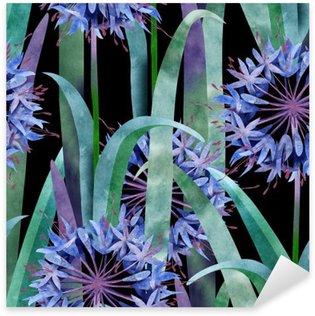 Sticker Pixerstick Aquarelle Agapanthus Fleur Motif sans couture Fond noir