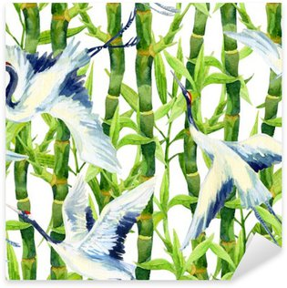 Sticker Pixerstick Aquarelle asiatique grue oiseau seamless