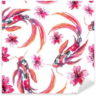 Sticker Pixerstick Aquarelle asiatique poissons koi