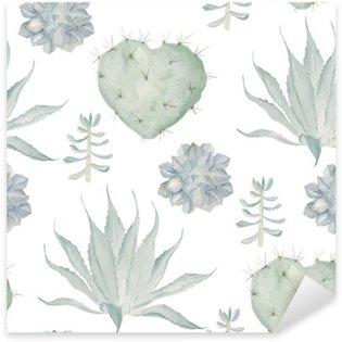 Sticker Pixerstick Aquarelle cactus impression. Seamless