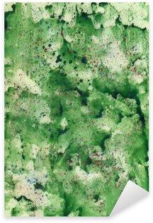 Sticker Pixerstick Aquarelle fond vert avec un spray rouge.