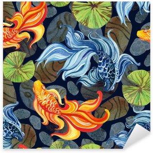 Sticker Pixerstick Aquarelle goldfishes asiatique