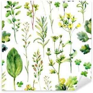 Sticker Pixerstick Aquarelle mauvaises herbes de prairie et d'herbes seamless pattern