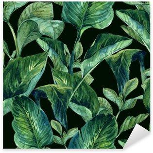 Sticker Pixerstick Aquarelle Seamless avec des feuilles tropicales
