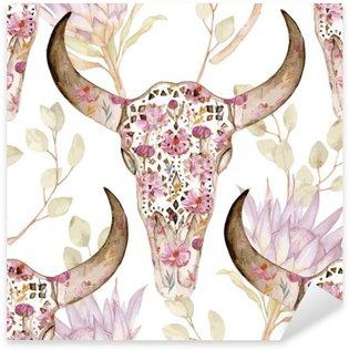 Sticker Pixerstick Aquarelle seamless crâne fleurs, protea. Décoration florale, illustration vectorielle