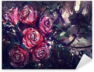 Sticker Pixerstick Aquarelle style peinture roses art abstrait.
