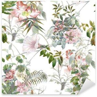 Sticker Pixerstick Aquarelle sur papier des feuilles et des fleurs, motif sans couture sur fond blanc