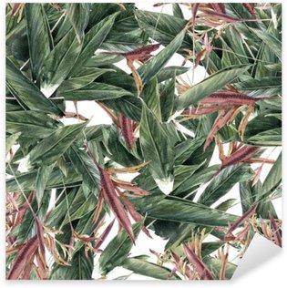 Sticker Pixerstick Aquarelle sur papier des feuilles et des fleurs, motif sans couture