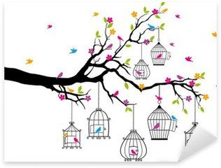 Sticker Pixerstick Arbre avec des oiseaux et des cages à oiseaux, vecteur