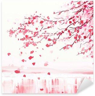 Sticker Pixerstick Arbre cerisier japonais
