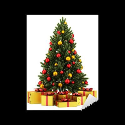 Sticker arbre de no l d cor avec des bo tes de cadeau - Arbre de noel decore ...