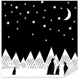 Pixerstick Sticker Arctic nacht vector illustratie met pinguïns familie, geometrisch besneeuwde bergen, de maan en de sterren. Zwart-witte Druk van de Natuur. Leuke bergen landschap achtergrond.