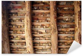 Sticker Pixerstick Argile tuiles toit Indor tuiles carrés de poutres en bois