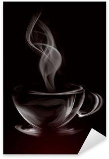 Pixerstick Sticker Artistieke Illustratie Rook Kopje Koffie op zwart