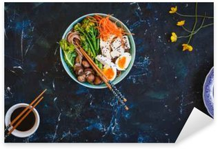 Sticker - Pixerstick Asian Miso ramen noodles with egg, tofu, pork and enoki in bowl on blue marble table.