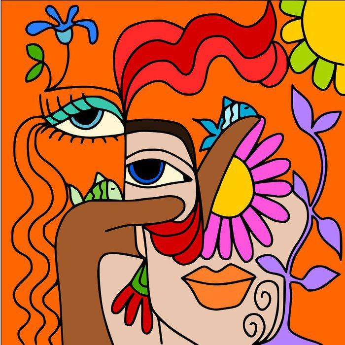 Sticker - Pixerstick astratto con occhi - Themes