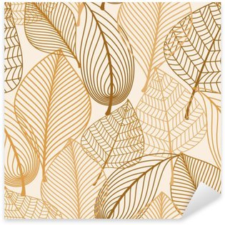 Sticker - Pixerstick Atumnal seamless pattern with brown leaves