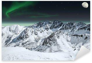 Sticker Pixerstick Aurora et de la lune dans les montagnes