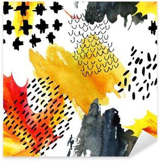 Sticker Pixerstick Automne feuille d'érable aquarelle et doodle seamless