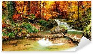 Sticker Pixerstick Automne ruisseau bois avec des arbres jaunes