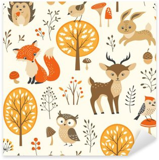 Autumn forest seamless pattern with cute animals Sticker - Pixerstick