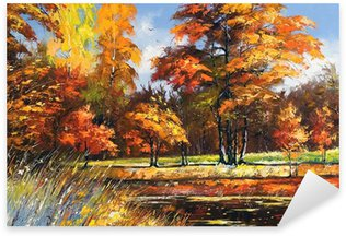 Sticker - Pixerstick Autumn landscape on the bank of the river