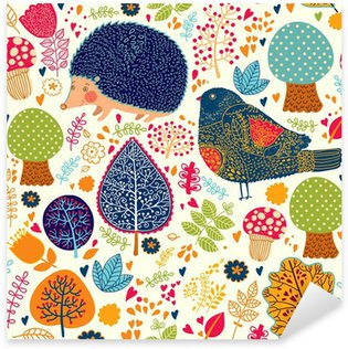 Pixerstick for All Surfaces Autumn seamless pattern with flowers, trees, leaves and crew cut