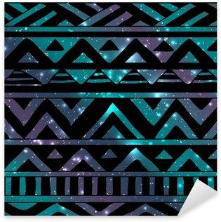 Pixerstick Sticker Aztec Tribal Naadloze Patroon op Cosmic Background
