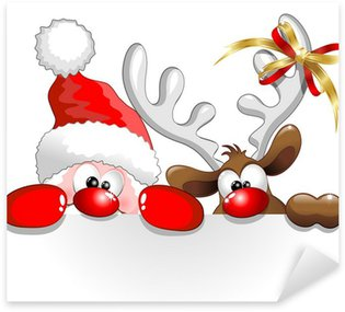 Pixerstick for All Surfaces Babbo Natale e Renna-Santa Claus and Reindeer Background