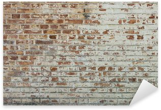 Background of old vintage dirty brick wall with peeling plaster Sticker - Pixerstick