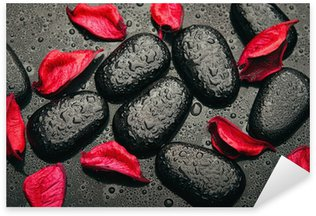 Sticker - Pixerstick background spa. black stones and red petals with water droplets
