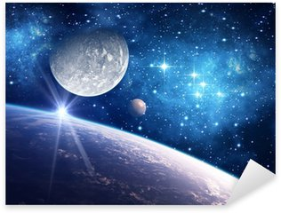 Sticker - Pixerstick Background with a Planet, Moon and Star