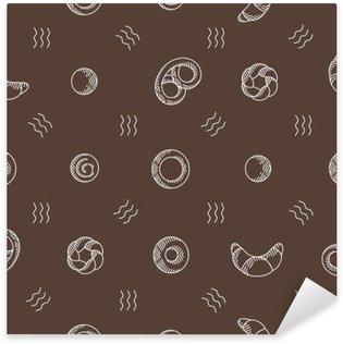 Sticker - Pixerstick bakery products seamless pattern. vector illustration
