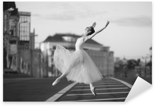 Ballerina dancing in the center of Moscow in the morning Sticker - Pixerstick
