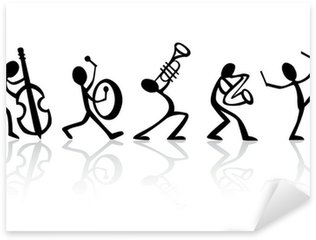 Sticker Pixerstick Band musiciens jouant de la musique, idéal vecteur de t-shirts